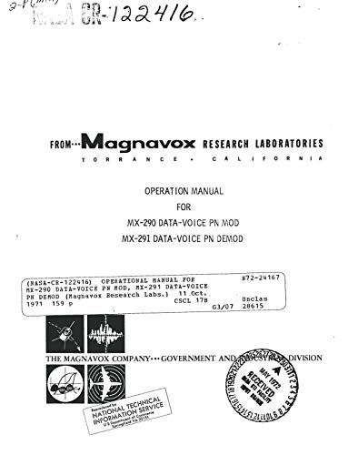 Operational manual for MX-290 data-voice PN Mod, MX-291 data-voice PN DEMOD (English Edition)