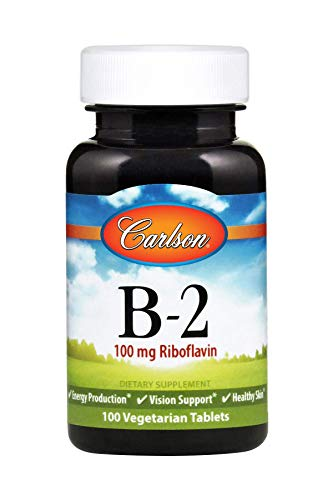 Carlson - B-2, 100 mg Riboflavin, Energy Production, Vision Support & Healthy Skin, 100 Vegetarian Tablets