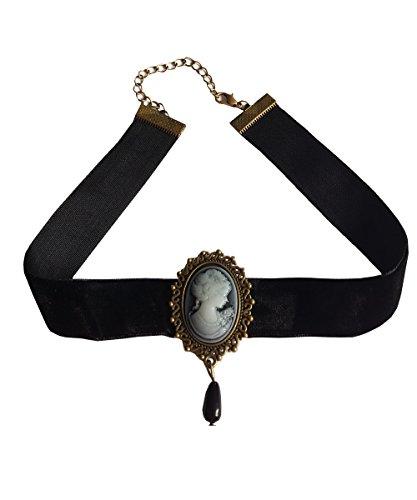 EROSPA Gothic Samt-Halsband mit Brosche Vintage Halskette Damen Gothik Schmuck