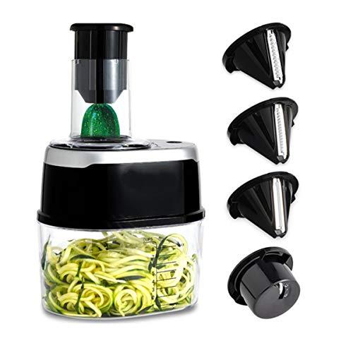 YSYDE Cortadora en Espiral eléctrica 500W, ralladora Multifuncional Máquina de Alimentos Embudo...
