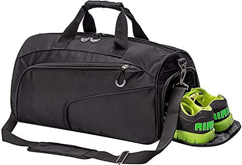 Bolsa de deporte con compartimento para zapatos y bolsa de deporte húmeda, bolsa de fin de semana, para hombres y mujeres, color Negro, talla Large