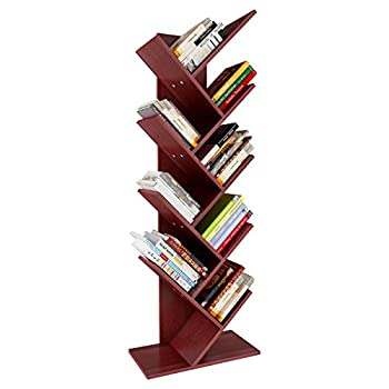 YITAHOME 9 Shelf Tree Bookshelf Floor Standing Bookcase,Book Rack Storage Rack Shelves in Living Room/Home/Office Books Holder Organizer for Books/Movies - Cherry