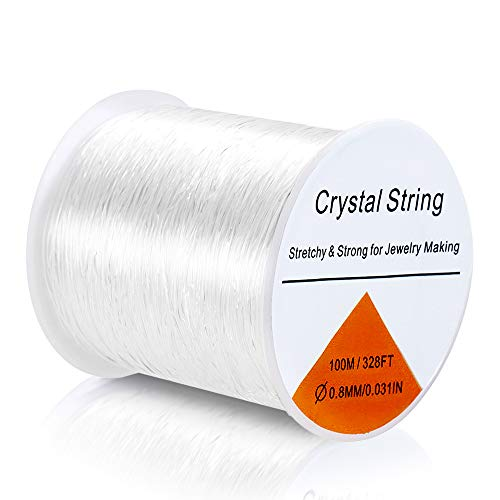 328 FT Elastic String for Bracelets, Premium 0.8mm Jewelry Elastic Cord Clear, Strong Stretchy String Elastic Cord for Bracelet, Jewelry Making, Beads, Crafts, Crystal String Beading Thread for Kids