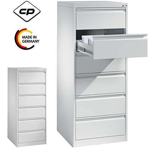 bümö CP Karteischrank abschließbar Karteikartenschrank für Karteikarten DIN A5 quer - 6 Schubladen zweibahnig (Lichtgrau RAL 7035, 2-bahnig)