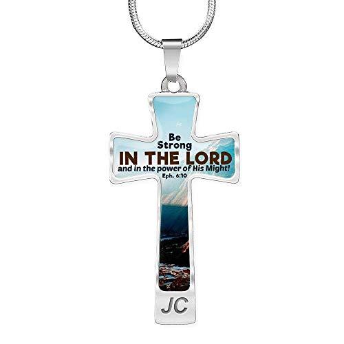 Express Your Love Gifts Colar com pingente de cruz de versículo da Bíblia Be Strong in The Lord em aço inoxidável ou ouro 18 k 45-56 cm