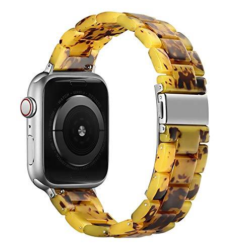 WAY-KE Correa De Repuesto De Resina para Correa De Muñeca Iwatch Series 12 3 4 Correa De Reloj Inteligente Compatible con Apple Watch 38MM 42MM,Amber,38MM