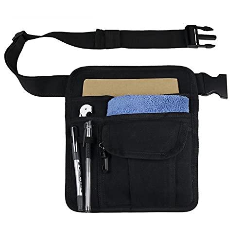 Gardening Tool Waist Bag,Premium Quality Restaurant Waiter Waist Money Pouch Bag with Adjustable Belt Pencil Holder and Check Holder, Durable and Multifunctional Design (Black)