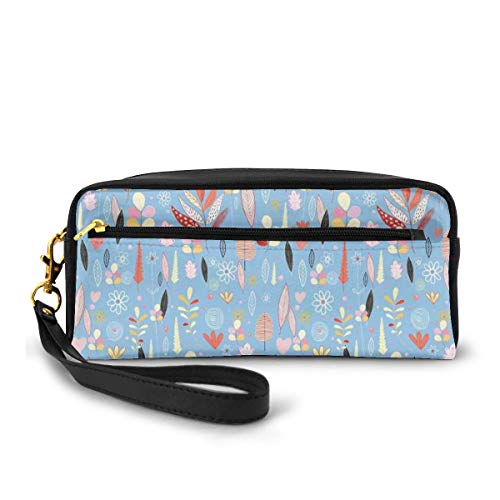 Pencil Case Pen Bag Pouch Stationary,Floral Artwork Autumn Leaves on Blue Backdrop Garden Theme Nature Illustration,Small Makeup Bag Coin Purse