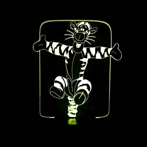 KangYD Cartoon Jump Tiger 3D Night Light, LED Optical Illusion Lamp, E - Alarm Clock Base(7 Color), Bedroom Lamp, Party Gift, Room Decor, Room Lighting, Modern Decor