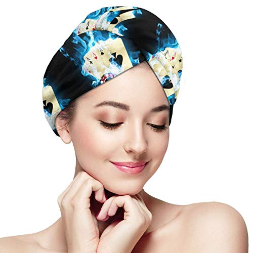 Poker Card Blue Fire Microfiber Dry Hair Hat Absorbent Fast Drying Shower Caps Head Turban Towel