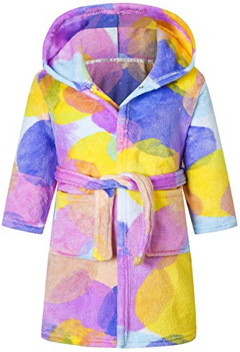 Girl's Circle Ball Hooded Flannel Bath Robe Loungewear with Waistband and Pockets, Bubble, 6 Years = Tag 130