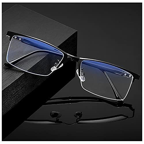 H.yna Gafas De Lectura De Media Montura, Gafas De Lectura Fotocromáticas, Gafas De Titanio Superligeras para Hombres, Gafas De Sol (Negro)