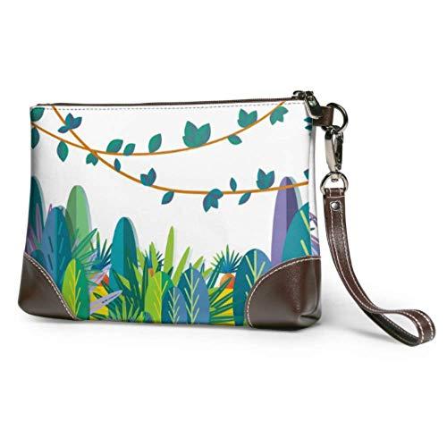 Leder Clutch Soft Wasserdichte Abend Clutch Bag Grüne Kletterwand von Ivy Leaf Womens Clutch Bag mit Reißverschluss für Frauen Mädchen