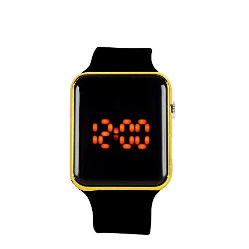 Runrain Sportuhr für Herren und Damen, Silikon, LED, digital, Armband (Gold)