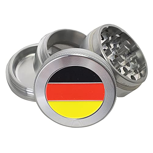 Hochwertige Aluminium Grinder mit einzigartigem geprägtem Logo in verschiedenen Designs & Größen. (Flagge Deutschlands, 50mm 4 part)