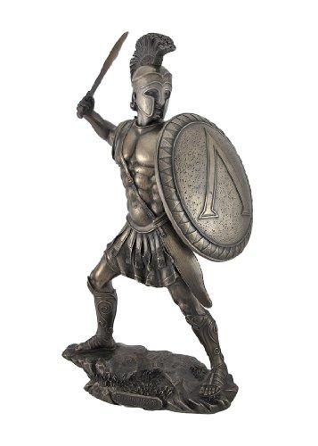 Veronese Design Bronzed Spartan Warrior with Sword and Hoplite Shield Statue