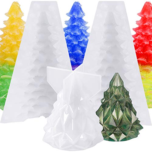 2 Pieces 3D Christmas Tree Candle Molds Epoxy Resin Casting Molds Christmas Pine Tree Silicone Soap Molds for Cake Decorating DIY Festival Craft Making Home Decoration