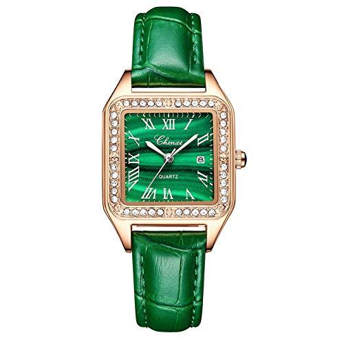 yuge Las mujeres de lujo elegante reloj de cuarzo malaquita verde casual impermeable cuero señoras reloj 311MalachiteGreen