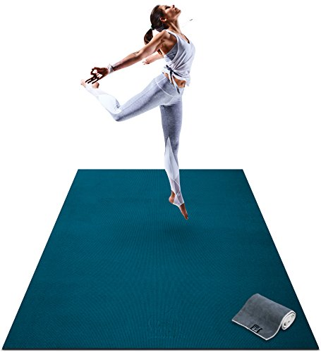 Premium Large Yoga Mat - 6' x 4' x 8mm Extra Thick & Comfortable, Non-Toxic, Non-Slip, Barefoot Exercise Mat - Yoga, Stretching, Cardio Workout Mats for Home Gym Flooring (183cm Long x 122cm Wide)