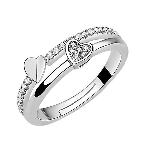 24 JOYAS Anillo Corazones Unidos Ajustable con Brillantes para Mujer en Plata de Ley 925. Joya romántico