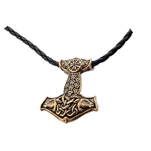Viking wolf Thor/'s Hammer Stainless Steel Norse Bijoux Pendentif Uniquement