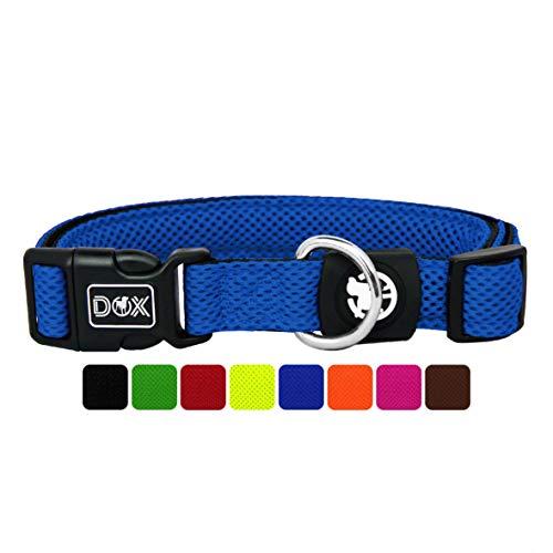 DDOXX Hundehalsband Air Mesh, verstellbar, gepolstert | viele Farben | für kleine & große Hunde | Halsband Hund Katze Welpe | Hunde-Halsbänder | Katzen-Halsband Welpen-Halsband klein | Blau, XS