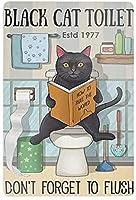 黒猫のトイレ水洗することを忘れないでください超耐久性のあるブリキの看板レトロなバー人々の洞窟カフェガレージ家の壁の装飾看板8x12インチ