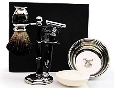 De Safety Razor ( Blades Not Inculded) Set 100% Hand Made Shaving Set for Men's. Ideal Gift This Christmas. The set Includes Pure Black Badger Hair Shaving Brush, De Safety Razor, Shaving Bowl with Soap and Brush Holder. Newly deigned By Haryali London