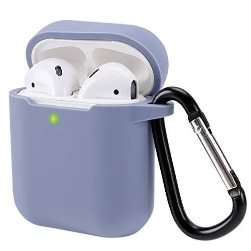 Preisvergleich Produktbild Airpods Schutzhülle Hülle Kompatibel mit AirPods 2 & 1,  KOKAKA Silikon AirPods Schutzhülle hülle [LED an der Frontseite Sichtbar][Stoßfeste Schutzhülle] Lavender Grey