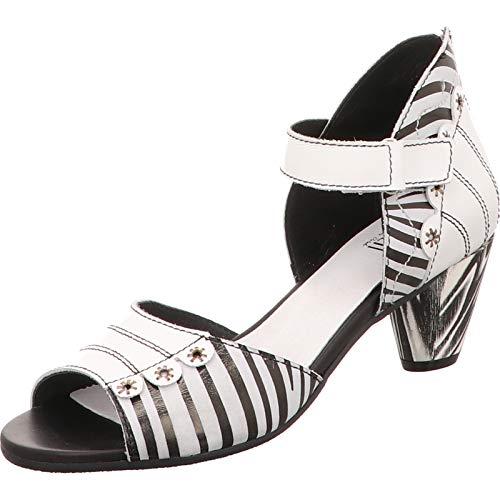 Simen Sandale in extravaganter Optik und Streifendesign Weiß