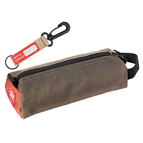 Rough Enough Small Cute Pencil Case Pouch for Kids Boys Girls Pen Case Organizer for Men Adults Stationary Art Supplies Case EDC Zipper Pouch with Handle Keychain for School Office Car Military Beige