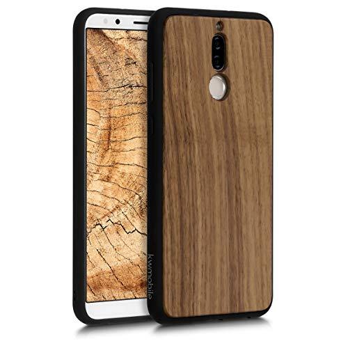 kwmobile Funda Compatible con Huawei Mate 10 Lite - Carcasa Protectora de Madera y TPU - Case Trasero marrón Oscuro