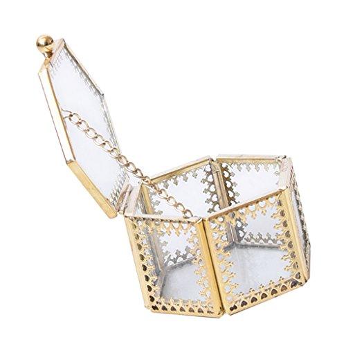 Baoblaze hexagonal geometrisk klar glaslåda med gångjärn lock smycken förvaring monter