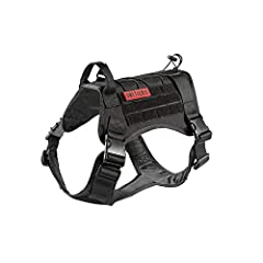 """【SIZE INFORMATION】Our tactical dog harness made in Durable 1000D nylon& Soft Padded for a comfortable fit. M: 16""""-25""""(Neck); 20""""-34""""(Chest); 10""""(Back) L: 20""""-29""""(Neck); 24""""-38""""(Chest); 11""""(Back) 【EASY ADJUSTABLE】Adjustable Dog Harness with Top handle..."""