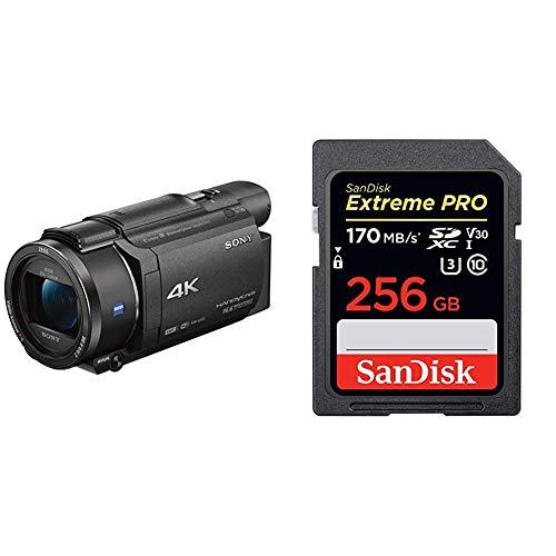 Sony FDR-AX53-4K Ultra Handycam (20-Fach optischer Zoom, 5-Achsen Bildstabilisation, NFC) schwarz & SanDisk Extreme PRO 256GB SDXC Speicherkarte bis zu 170 MB/s, Class 10, U3, V30