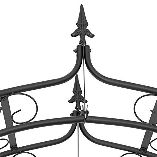 Relaxdays Rosenbogen mit Spitze HBT 242 x 138 x 35,5 cm Torbogen aus massivem Metall als Rankhilfe für Kletterrosen und Clematis Rosenspalier mit Pike und 4 Erdnägeln als stabiles Rankgitter, schwarz - 4