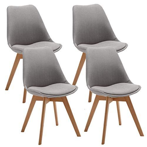 Deuline Oslo Esszimmerstuhl Küchenstuhl SGS Zertifiziert Massivholz Beine Polsterstuhl Retro Design Stühle Lehnstuhl Stoffbezug, 4 Stück Set