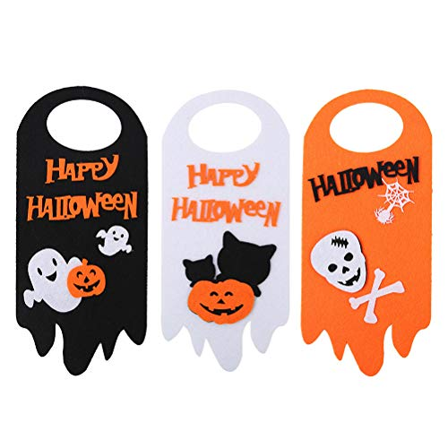 HAOCAI 3pcs Halloween Decor Türhänger, Kürbis Ghost Spider Hanging Decoration für Halloween Party Supplies