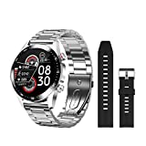ZHEBEI E1-2 reloj inteligente de los hombres de llamada Bluetooth Dial personalizado pantalla táctil completa impermeable Smartwatch para Android IOS Deportes Fitness Tracker silversiliconebd3