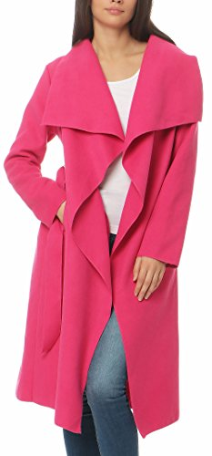 Malito Damen Mantel lang mit Wasserfall-Schnitt | Trenchcoat mit Gürtel | weicher Dufflecoat | Parka - Jacke 3040 (pink)