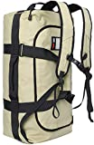 MIER 60L Water Resistant Backpack Duffle Heavy Duty Convertible Duffle Bag with Backpack Straps for Gym, Sports, Travel, Khaki