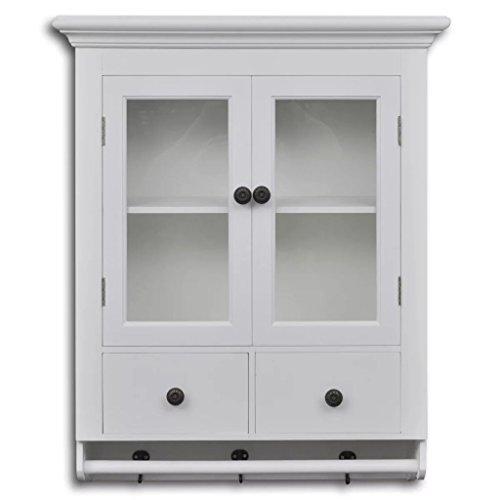 Tidyard Küchenhängeschrank Wandschrank Küchenschrank in Antik-Optik mit 2 Schubladen und 2 Regalen Regal,Badschrank Wandboard Regal mit Glastür Gesamtgröße:59 x 22,5 x 74 cm (L x B x H) Weiß