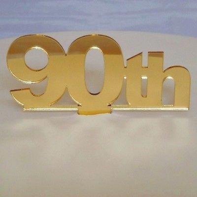 ServeWell 90th Birthday cake topper, Acrilico, Mirrored Gold, Standard