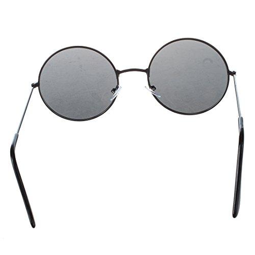 SODIAL (R) Maenner Damen Metall Rahmen Schwarzes Objektiv Runde Sonnenbrille Brille Designerbrille