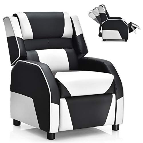 Giantex Kids Recliner, Kids/Youth Gaming Recliner Chair, Racing Style Game Sofa with Headrest and Lumbar Support, Ergonomic PU Leather Armchair Lounge Chair for Living & Gaming Room (White)