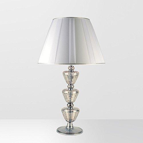 Mantova Murano Glas Große Tischleuchte Mittlere in Chrom platin chrom | Handgefertigt in Italien | Tischlampe Klassisch Dimmbar | Lampe E 27