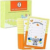 40 Baby Meilenstein Karten inkl. Hand- und Fußabdruck Set | das ideale Geschenk zur Babyparty & Geburt | Monatskarten für die ersten 12 Monate deines Babys
