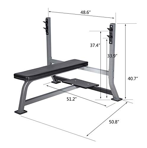BuyHive Olympic Weight Bench Press Weight Training Workout Bench Squat Rack Strength Training Home Gym Fitness