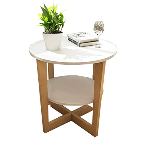 Axdwfd Table basse, canapé en bois massif, chambre à coucher du salon, 2 couches, table de chevet élégante (blanche)