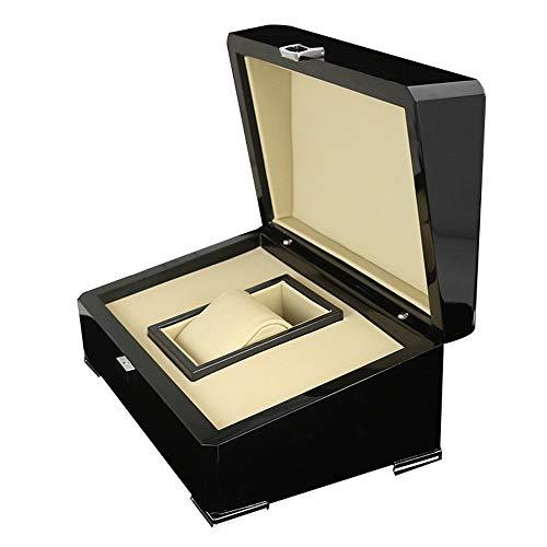 Asffdhley Uhrenbox Piano Lack Holz-Uhr-Kasten PU-Leder-Platz Flip Jewelry Box 23.3x16.4x10.5cm für Männer Herren (Color : Black, Size : S)